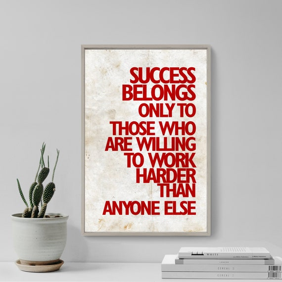 INSPIRATIONAL MOTIVATIONAL QUOTE POSTER PRINT PICTURE SUCCESS BELONGS TO THOSE