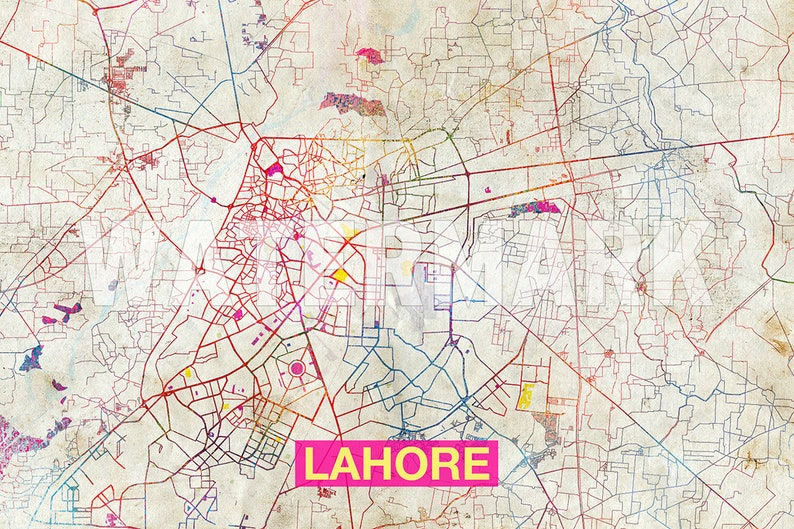 Lahore Map - Original Art Print - City Street Map of Lahore, Pakistan -  Poster Watercolor Illustration Wall Art Home Decor Gift
