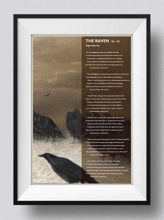 - Edgar Allan Poe Poem The Raven 3 of 3 Art Print Poster Photo Gift Allen