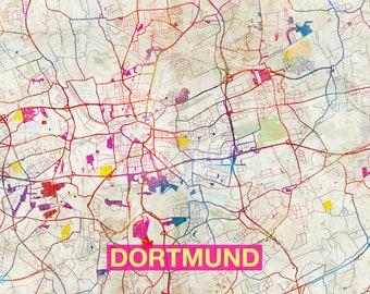 dortmund map original art print city street map of dortmund germany poster
