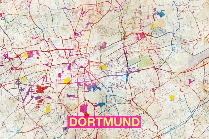 Dortmund On Map Of Germany.Dortmund Map Original Art Print City Street Map Of Etsy