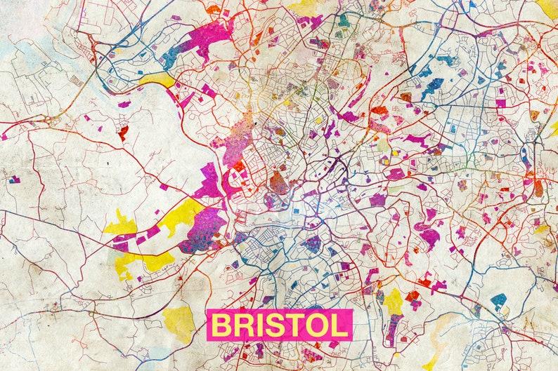 Map Of Bristol England.Bristol Map Original Art Print City Street Map Of Bristol England Poster Watercolor Illustration Wall Art Home Decor Gift