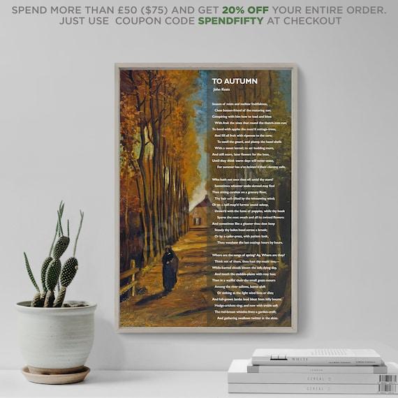 To Autumn Art Print Poster Photo Gift Seasons John Keats Poem