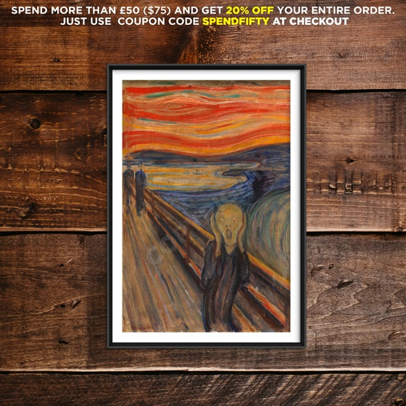 Munch Art Canvas//Poster Print A3//A2//A1 The Scream 1893