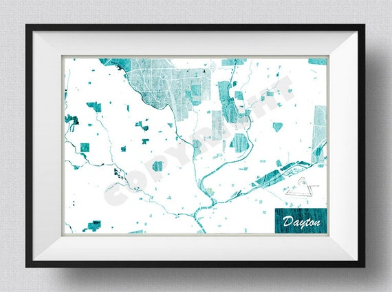Dayton Ohio Usa Map Art Print Blue Stroke Etsy