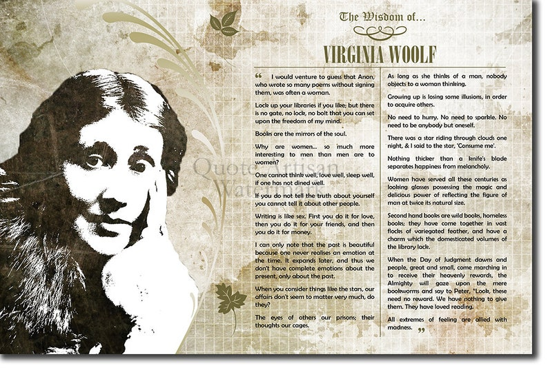 The Wisdom Of Virginia Woolf Original Art Print Featuring His Greatest Quotes Photo Poster Gift