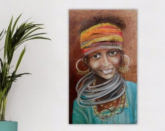 Original indian girl portrait painting, artistic oil portrait, modern India wall art painting, child painting on canvas, apartment decor,