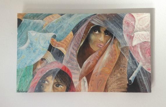 Quadro ritratto donne indiane. Dipinto India. Ritratti ...