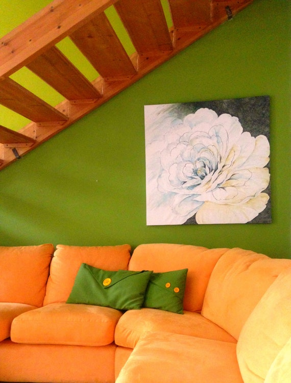 large floral painting white flower large wall art flower etsy