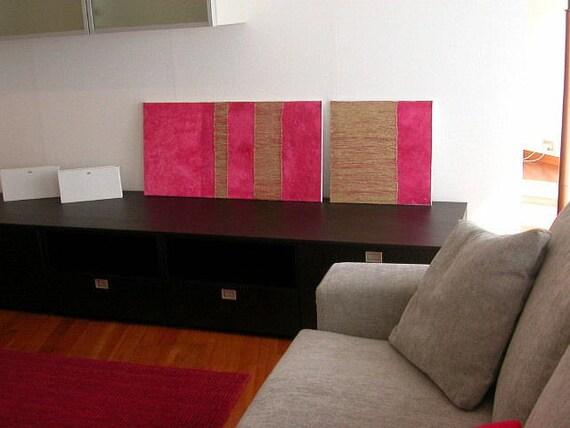 Coppia quadri materici moderni minimal. Dittico rosa astratto   Etsy
