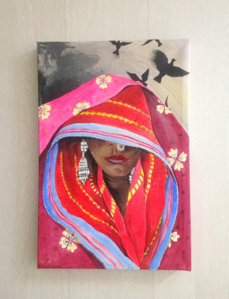 Indien Mit Einem Porträt Der Frau Gemalt Indische Frau Gesicht Bild Traditionelle Indische Malerei Ethnische Malerei