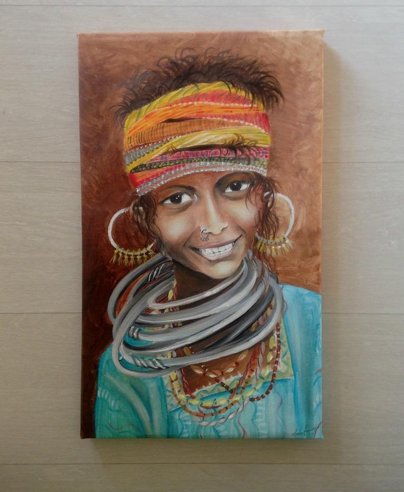 Original Indische Mädchen Porträtmalerei Künstlerische Porträt Von Hand Bemalt Indisches Mädchen Gemalt Wurde Modernes ölgemälde Auf