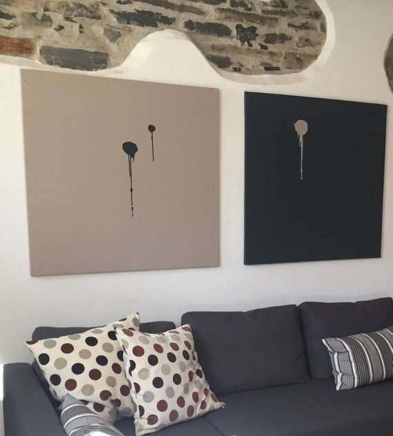Coppia quadri astratti monocolore. Dittico minimalista. Grandi | Etsy