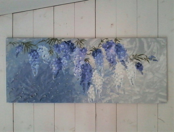 painted blue wisteria large floral painting mediterranean etsy