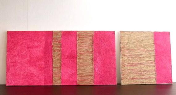Coppia quadri materici moderni minimalisti. Dittico rosa beige   Etsy