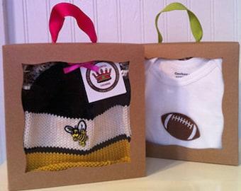 Georgia Tech Yellow Jackets Knitted Newborn Baby Hat, Black & Gold, Football Fans (Optional Onesie), Best Baby Gift, Hand-Knit Cotton Cap