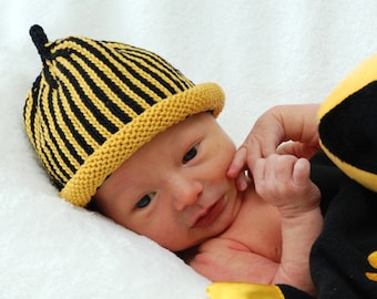 Pittsburgh Steelers Knitted, Hand-Knit Newborn Baby Hat, Black & Yellow, Football Sports Fans~ Best Baby Gift