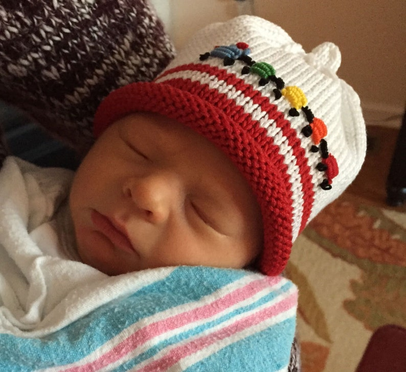 Choo Choo Train Knitted Newborn Baby Hat with Embroidery Best image 0