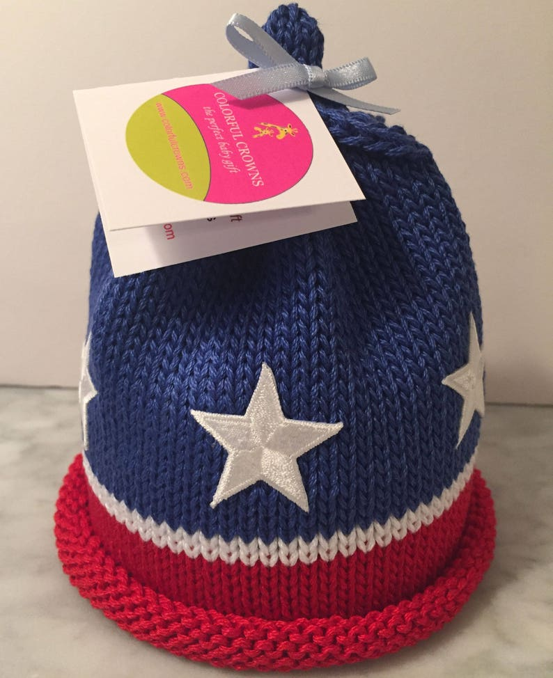 Stars and Stripes Newborn Baby Beanie image 0