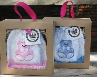Knitted Newborn Baby Hat with Baby Bear Appliqué (Pink or Blue), Matching Onesie (Optional), Hand-Knit, Cotton, Best Baby Girl & Boy Gift