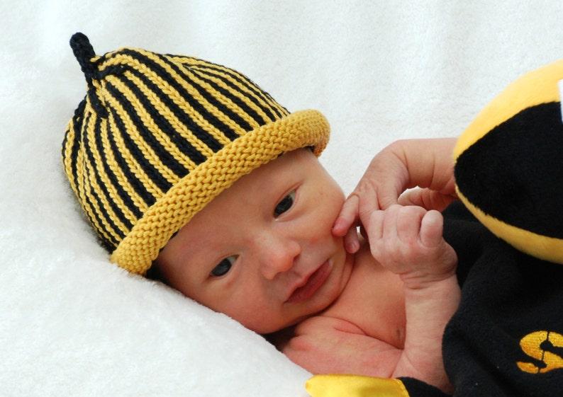 CUSTOMIZABLE Sports Team Knitted Newborn Baby Hat Plus image 0