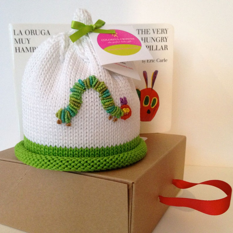 Colorful Crowns Green Hungry Caterpillar Knitted Newborn Baby image 0