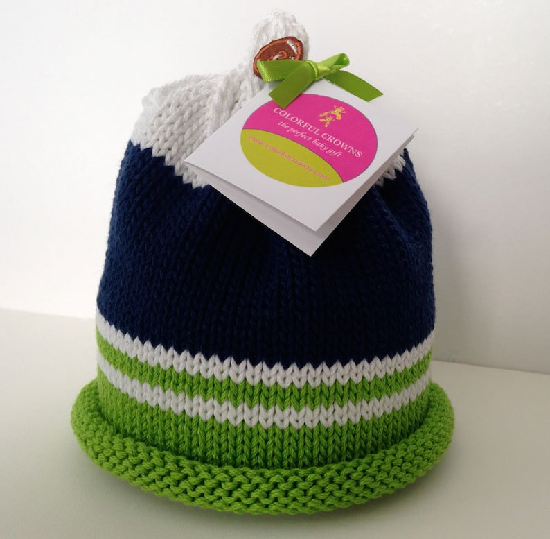 Seattle Seahawks Knitted Newborn Baby Hat Navy Blue Green & image 0