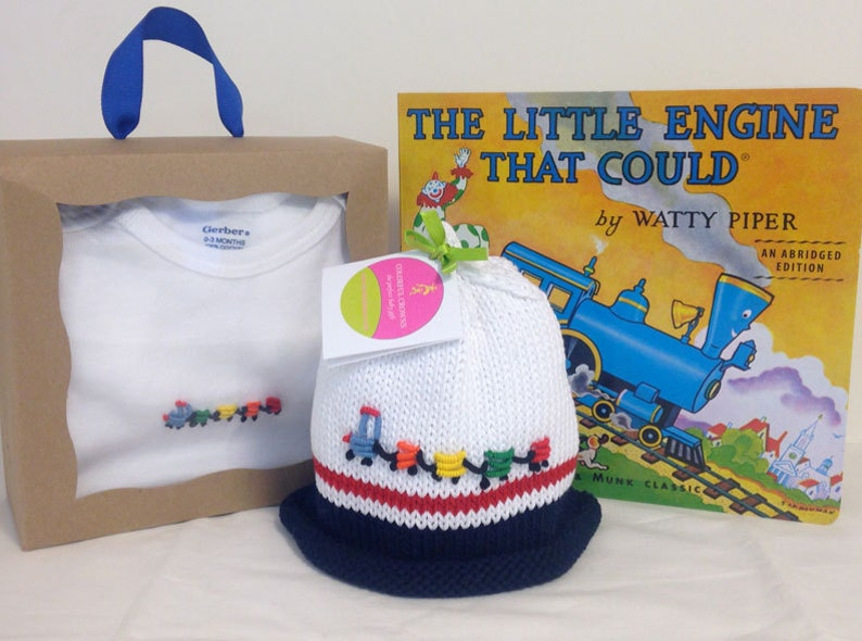 Train Onesie  Baby Hat  Hand Embroidered & Hand Knitted image 0