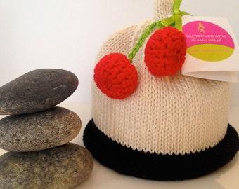 Red & Black Cherry Fruit Knitted Newborn Baby Hat, Best Baby Gift, Hand-Knit, Cotton