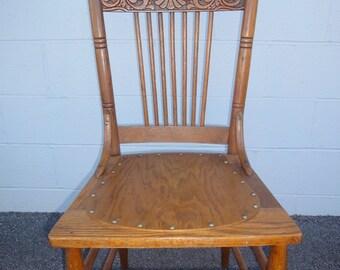 Solid Oak Antique Press Back Chair/Kitchen Chair/Ladder Back Chair/Restored  Antique