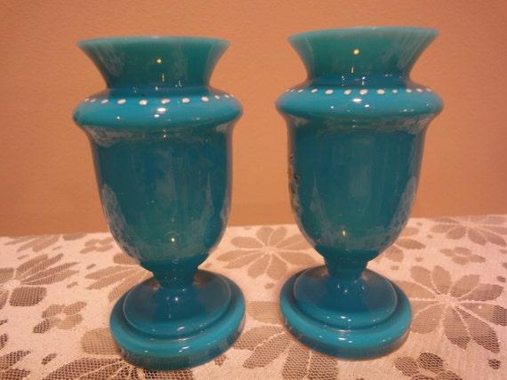 Stunning Pair Of Glass Retro Vases Art Glass