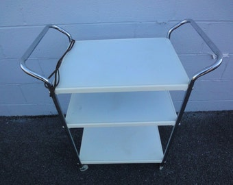 White Enamel Utility Cart/1950u0027s Utility Cart/Vintage Kitchen Carts/White Kitchen  Cart
