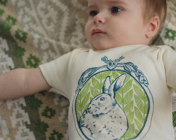 Rabbit Organic Cotton Bodysuit: nature, woods, forest, baby shower, baby gift, bunny, easter, unisex, leaves, foliage, vintage, spring