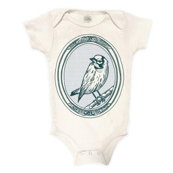 Bird Organic Cotton Bodysuit: Baby Gift, Baby Shower, Woods, Nature, birdwatcher