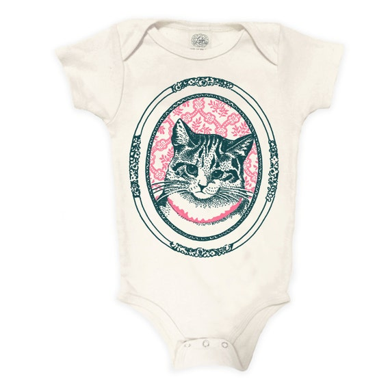Kitty Cat Organic Cotton Bodysuit: Vintage, cat baby, baby shower gift, cat portrait, retro cat, kitten