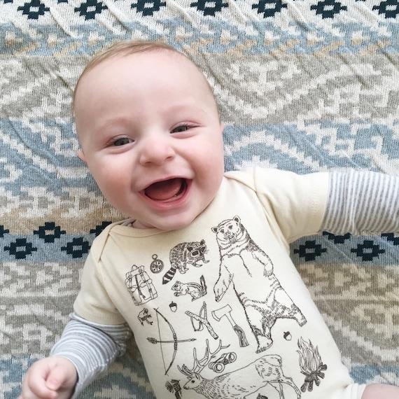 Outdoorsman Woodland Organic Cotton Bodysuit: baby gift, baby boy, woodland animal, outdoorsy, owl, camping, camp fire, bear, deer