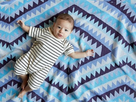 Navajo Inspired Cotton Baby Layette Blanket: global nursery decor, recycled cotton blanket, stroller blanket, kilim inspired blanket