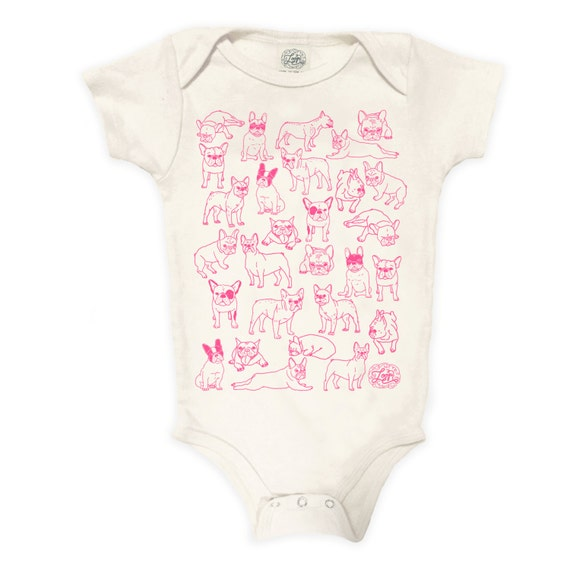 Frenchies Organic Cotton Bodysuit: baby shower gift, baby girl, one piece romper, frenchie, french bulldog, hand drawn, dog, boston terrier