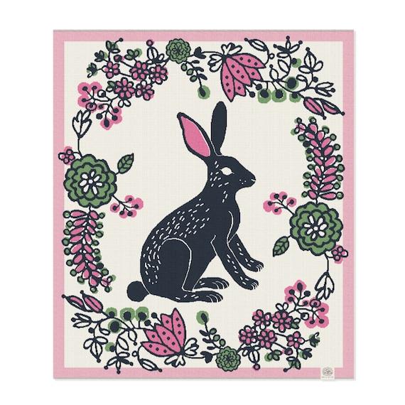 Rabbit Cotton Baby Blanket: eco-friendly baby gift, bunny blanket, woodland inspired nursery, layette, vegan baby gift, woodland baby shower