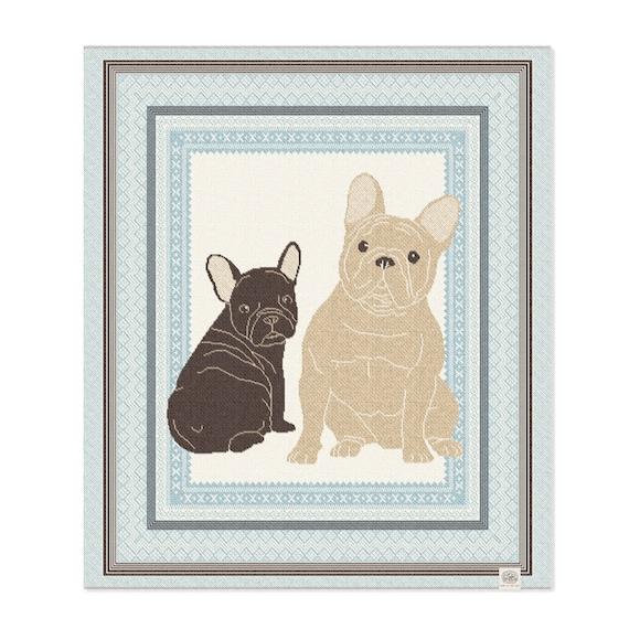 French Bulldog Recycled Cotton Baby Layette Blanket: baby gift, baby shower, boy, frenchie, fairisle, cozy, eco, crib, stroller