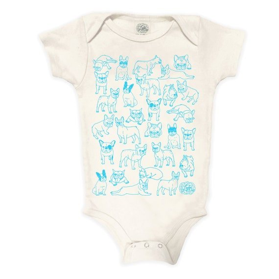 Frenchies Organic Cotton Bodysuit: baby shower gift, new baby, romper, frenchie, french bulldog, hand drawn, dog, dog sibling