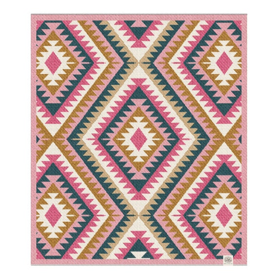 Kilim Recycled Cotton Baby Layette Blanket: baby gift, baby shower, baby girl, cozy, eco, crib, stroller, geometric
