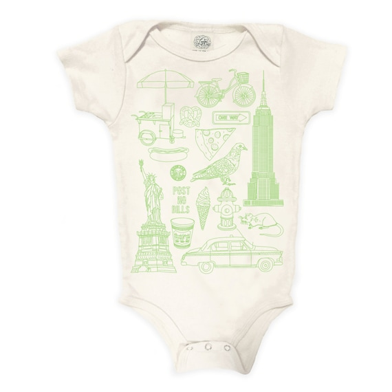 NYC Organic Cotton Bodysuit: New York City, Vegan baby, Retro, Pigeon, Taxi, Statue of Liberty, Baby Gift, Romper, Pigeon, Taxi, Pizza