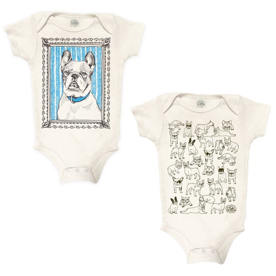 French Bulldog Gift set: infant one piece set, baby shower gift, frenchie baby gift