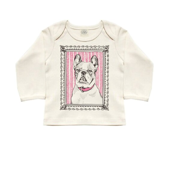 French Bulldog Organic Cotton Long Sleeved Tee: baby shower gift, frenchie, vintage inspired, hand drawn, dog lover, dog, baby gift, girl