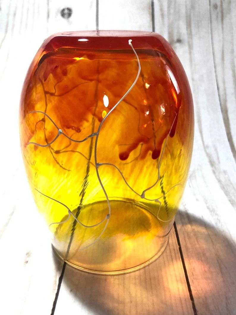 Orange Lightning  Stemless wine glass  Pearl white lightning strikes  hand painted