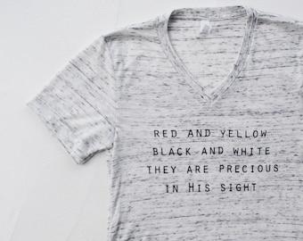Christian T Shirts - Jesus Loves The Little Children - Faith Shirts - V-Neck T-Shirt - Womens Graphic Tee