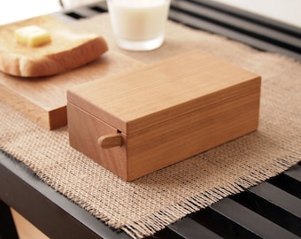 butter dish, wood butter dish, butter box, with knife, butter dish with lid, gift for mom, gift for her, gift for women