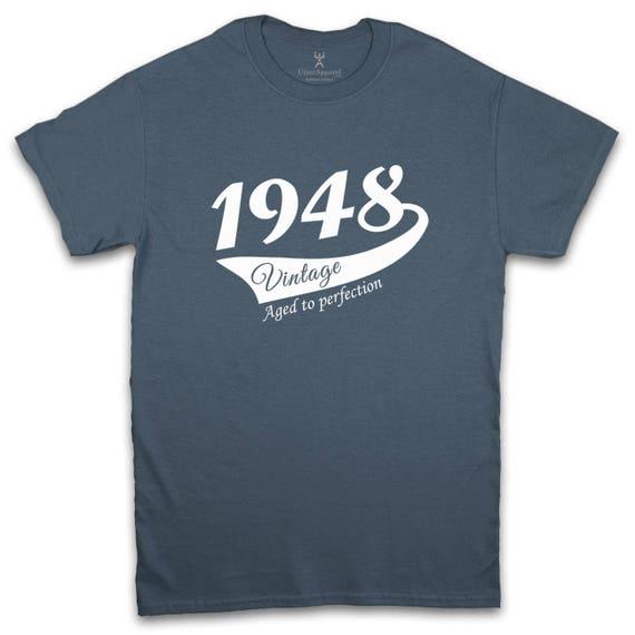 70th Birthday T Shirt Gift Man 1948 Vintage Design Sizes S 2XL