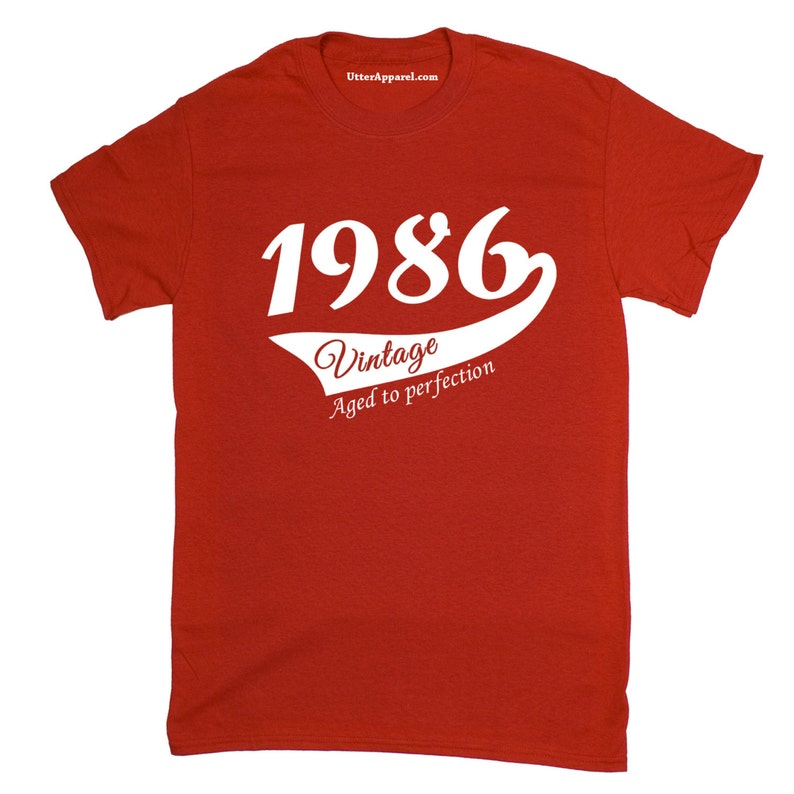 1986 T Shirt Birthday Present Vintage Born Age Womans Ladies 17 Sizes Available